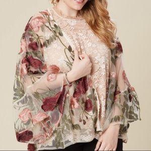 Embroidered Floral Sheer Kimono